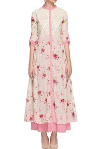 white-pink-layered-floral-print-dress