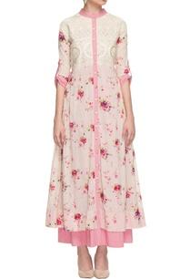 white-pink-layered-floral-print-dress