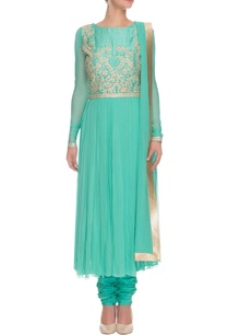light-seagreen-gold-gota-embroidered-kurta-set