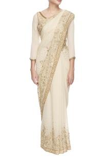 white-and-golden-sequined-chiffon-sari