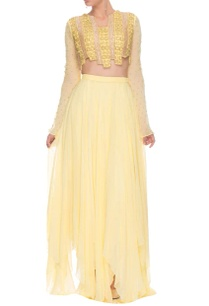 yellow-embellished-crop-top-and-skirt