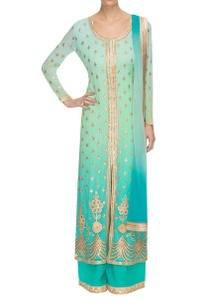 blue-green-embellished-ombre-kurta-set