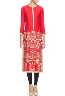 red-gold-thread-embroidered-kurta