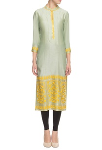 green-and-yellow-thread-embroidered-kurta