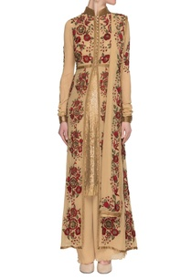 camel-floral-embroidered-kurta-set