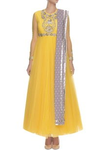 yellow-floral-elephant-embroidered-printed-anarkali-set