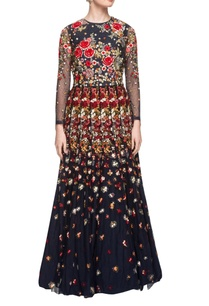 navy-blue-floor-length-floral-embroidered-dress