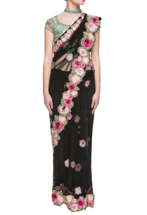 black-floral-motif-net-sari-with-an-embroidered-blouse