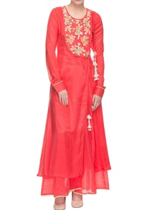 watermelon-red-embroidered-kurta-with-palazzo