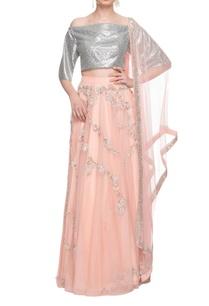 silver-peach-embellished-lehenga-set