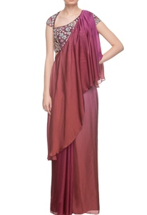 burgundy-two-toned-draped-sari-embroidered-blouse