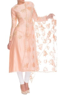 peach-and-white-maple-motif-kurta-set