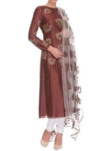 dark-brown-and-white-maple-motif-kurta-set
