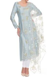 powder-blue-and-white-maple-motif-kurta-set