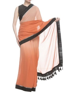 orange-peach-shaded-sari-with-black-studded-blouse