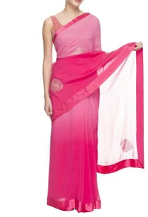 shaded-pink-sari-with-sequined-motif-and-net-blouse