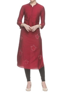 cherry-red-long-kurta-with-silver-embroidery