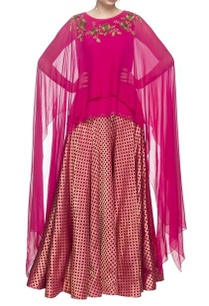 hot-pink-layered-asymmetric-kurti
