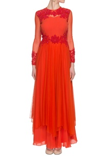 orange-dress-with-floral-applique