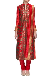 tangerine-turquoise-embroidered-kurta-set