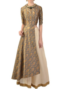 grey-gold-brocade-asymmetric-kurta-skirt