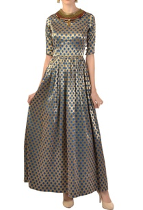 champagne-printed-embellished-dress