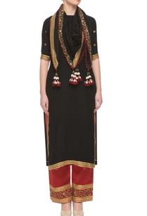 black-red-zardozi-embellished-kurta-set