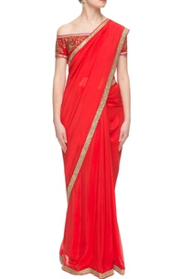 red-sari-with-embroidered-off-shoulder-blouse