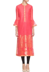 coral-floral-kurta-with-bell-sleeves-and-floral-prints