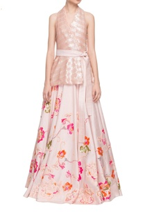 dusky-pink-sequin-wrap-top-with-embellished-skirt