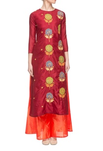 maroon-orange-embroidered-kurta-set