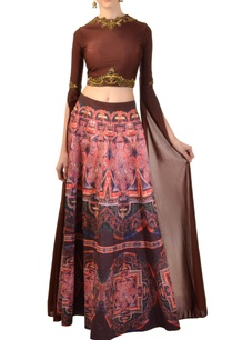 dark-brown-embellished-blouse-with-printed-skirt