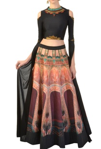 black-embellished-blouse-with-printed-skirt
