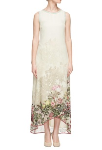 off-white-green-printed-high-low-dress