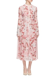 pink-floral-print-dress-with-pleats