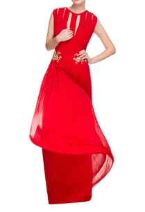 red-deep-neck-gown-with-3d-embellishments