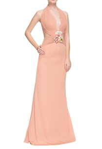 smoky-peach-halter-neck-pleated-gown