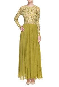olive-green-white-embroidered-gown