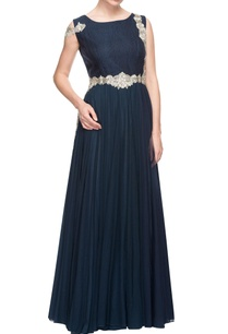navy-blue-torso-embellished-gown