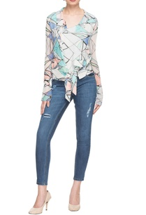 white-button-down-leaf-print-top