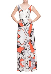 white-geometric-printed-gown