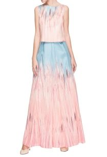 pastel-blue-baby-pink-shaded-top-pleated-skirt