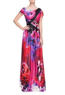 multi-colored-floral-printed-gown