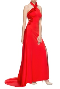 red-halter-neck-high-low-gown