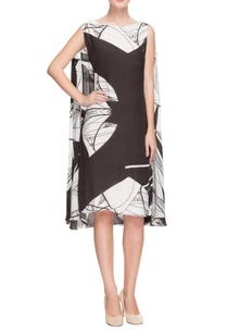 black-white-printed-dress-with-attached-cape