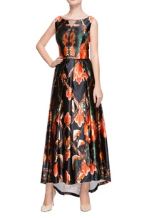 black-printed-high-low-gown