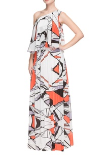 white-one-shoulder-geometric-printed-gown