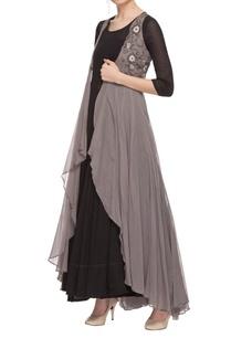 black-maxi-dress-with-grey-embellished-long-jacket