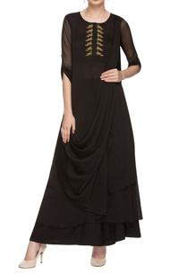 black-embroidered-kurta-with-draped-details