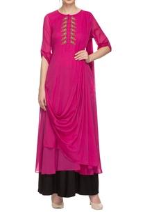 rani-pink-kurta-with-draped-details